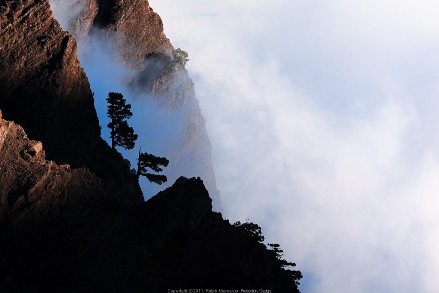 Moving clouds in the caldera